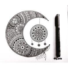 "Páči sa mi to: 825, komentáre: 8 – Kajal Patel🌸 (@kj.arts) na Instagrame: ""Just a repost of one my favourite drawings I did ❤️🌙 the moon with a dreamcatcher✨…"""