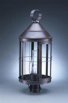 Cone Top Post Antique Brass Medium Base Socket With Chimney Seedy Marine Glass by Northeast Lantern. $712.50