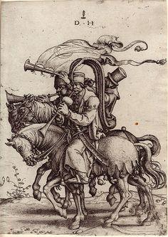 """""""Die türkischen Trompeter zu Pferd, nach Jan Swart), aus der Folge der berittenen Orientalen, Daniel Hopfer (ca. 1470-1536)"""