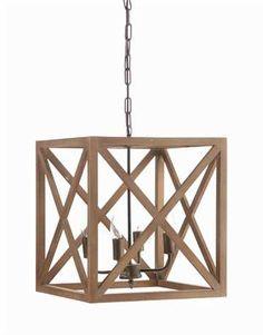 Metal U0026 Wood Square Chandelier