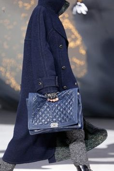 Chanel Dark Blue Boy Chanel Quilted Large Bag - Fall Runway 2013
