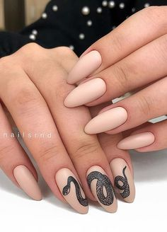 56 Lovely Acrylic Almond Shaped Nails To Inspire You This Summer - Almond acrylic nail, short almond nails, summer nails design, almond nails shape , Short Almond Nails, Almond Shape Nails, Nails Shape, Nude Nails, My Nails, Matte Nails, Coffin Nails, Black Manicure, Nagel Tattoo