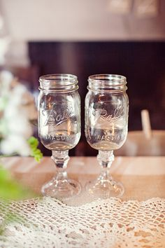Mason jar beer goblets! Affix mason jars to dollar store candle sticks with glass glue & voila!