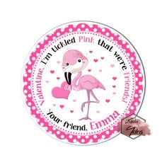 """Cute Pink Flamingo Valentine's day Custom Printable Tags- 2.5"""" Tags-Happy Valentine's Day Personalized 2.5 inches Tags- Stickers DIY Favor Tags-cute Valentines tags Valentine Theme, Happy Valentines Day, Printable Tags, Printables, Personalized Tags, Diy Stickers, Pink Flamingos, Cute Pink, Sticker Paper"""