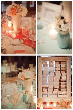 Coral & turquoise vintage beach wedding decor These ideas are pretty even without the starfish