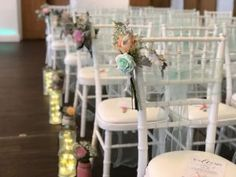 Chairs this beautiful only need finishing with a little decor,  added was mint green sashes & pew ends, for extra decor at the sides was, lanterns & jars of flowers, an the look was just stunning! Pew Ends, Flower Ideas, Mint Green, Sash, Lanterns, It Is Finished, Wedding Flowers, Range, Band