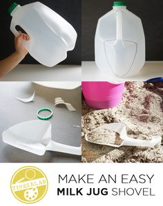 How to make a milk jug shovel, in two easy steps. This isn't the sturdiest shovel in the world, but it's a fun way to recycle a milk jug into something new.