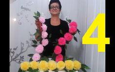 Aula 4 - Como fazer Arranjo com Flores de papel crepom parte 2. Por Fáti...