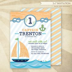 Custom Sailor Boy Birthday Printable Invitation #HWTM