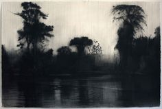 """last-picture-show: """" Calo Carratala, Rio Itaya (Pencil on Paper), 1996 """" Unique Drawings, Art Drawings, Anima Mundi, Etching Prints, Night Pictures, Cloudy Day, Medium Art, Night Skies, Picture Show"""