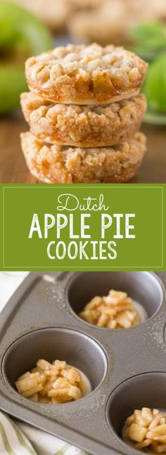Dutch Apple Pie Cookies - The perfect little three bite dessert with a flakey pie crust, cinnamon apple filling, and a sweet buttery crumb topping! (desserts with apples pie) Apple Pie Cookies, Cookie Pie, Cookies Et Biscuits, Yummy Cookies, Apple Pie Bites, Apple Pies, Pie Crust Cookies, Apple Tarts, Baking Cookies