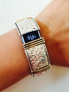 FitBit Flex/Charge Cover Up Bracelet! Silver and Gold Stretch Bracelet! For SMALL wrists ONLY- Free U.S.A. Shipping!
