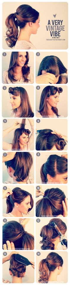 1950's inspired ponytail tutorial. Cute pony tail hairstyle. Cute fun hair style. Good for a day at work or with the kids.