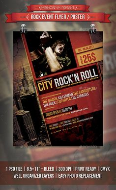 Rock Event Flyer / Poster Template PSD. Download here: http://graphicriver.net/item/rock-event-flyer-poster/15696033?ref=ksioks