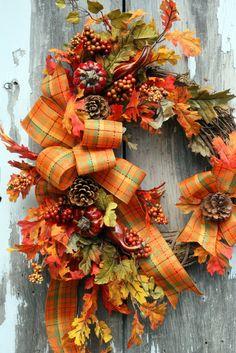 Fall Wreath Pine Cones, Pumpkins, Gourds, Fall Leaves, Plaid Bow. $55.00, via Etsy.