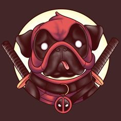 "Deadpool T-Shirt by Louis Wulwick aka KindaCreative. ""Pugpool"" is Deadpool as a Pug for fans of Pugs, or Deadpool. Deadpool Wallpaper, Marvel Vs, Marvel Dc Comics, Deadpool Funny, Deadpool Chibi, Deadpool Fan Art, Deadpool Character, Reservoir Dogs, Pug Life"