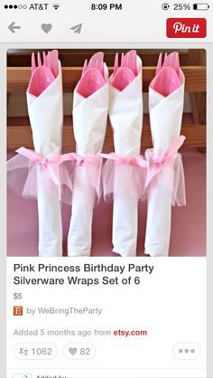 all white party Pink Princess Birthday Party Silverware Wraps by WeBringTheParty Ballerina Baby Showers, Baby Shower Princess, Pink Princess, Princess Theme, Ballerina Birthday Parties, Pink Birthday, Princess Birthday, Birthday Ideas, Ballerina Party