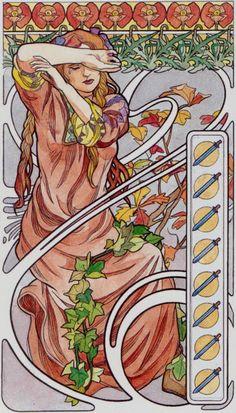 8 d'épées - Tarot art nouveau par Antonella Castelli