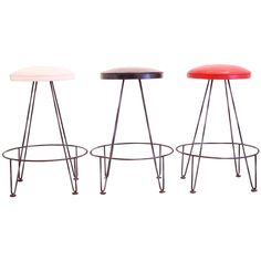 Set of Midcentury Iron Barstools | From a unique collection of antique and modern stools at https://www.1stdibs.com/furniture/seating/stools/