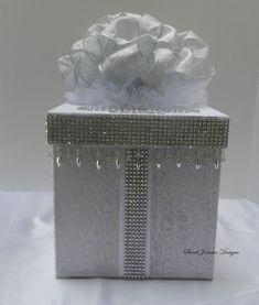 Silver And White Wedding Card Box Bling Mesh Wrap By Sweetjonesin