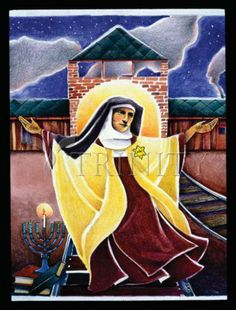 st edith stein in art Catholic Saints, Patron Saints, St Edith Stein, World Youth Day, Friend Of God, Santa Teresa, The Cross Of Christ, Bride Of Christ, Sacred Art