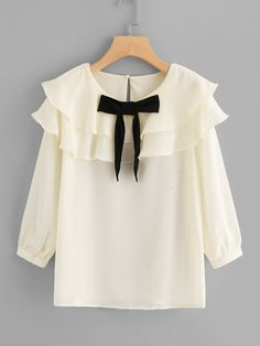 Shop Layer Flounce Trim Bow Detail Blouse online. SheIn offers Layer Flounce Trim Bow Detail Blouse & more to fit your fashionable needs.