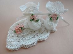 White Crocheted Booties and Hat with Flowers and Pearls for Newborn to Three Month Old Baby Girl For Christening/Blessing/Photo Prop