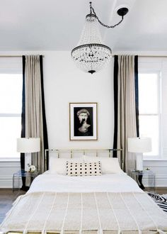 Bedroom with gold headboard, neutral curtains and crystal chandelier via Shelby Girard 132 – Interior design Photo Gallery Home Decor Bedroom, Bedroom Black, White Bedroom Design, Bedroom Inspirations, Home Bedroom, Glam Bedroom, Home Decor, Parisian Bedroom, Apartment Decor