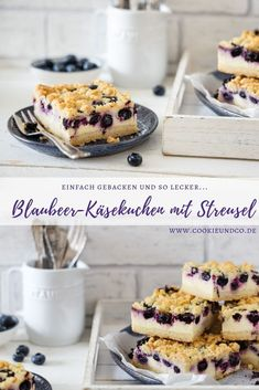 Blaubeer-Käsekuchen mit Streusel Recipe for a blueberry cheesecake with crumble: cottage cheese and cream cheese combined with blueberries and tasty crunchy crumbles. Simply delicious and baked quickly. Sprinkle Cookies, Cake Recipes, Dessert Recipes, Desserts, Kenwood Cooking, Bon Dessert, Dinner Dessert, Blueberry Cheesecake, Blueberry Cake