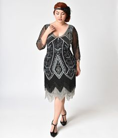 8278e00d224 1920s Style Black   Silver Beaded Sleeved Scarlet Fringe Flapper Dress