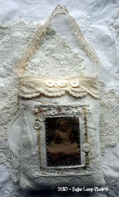 vintage lace and collage pouches
