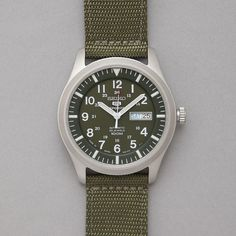 """""""Seiko Made In Japan Military Watch"""" --- The military green strap looks great with the metal case."""