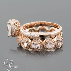 Moissanite Wedding Rings, Moissanite Engagement Rings, Diamond Halo Engagement Rings, Peach Sapphire Ring, Rose Gold Wedding Rings - LS3668