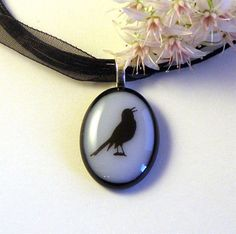 Pretty Little Songbird Fused Glass Pendant by GreenhouseGlassworks,