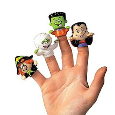 Dozen Vinyl Halloween Character Finger Puppets (Witch, Dracula, Ghoul, Frankenstein) - Most Wanted Christmas Toys Bird Puppet, Puppet Toys, Puppet Crafts, Halloween Treats For Kids, Halloween Toys, Halloween Party, Kawaii Halloween, Halloween Ideas, Puppet Tutorial