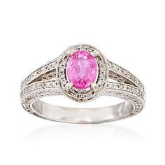 C. 2000 Vintage 1.18 Carat Pink Sapphire and 1.35 ct. t.w. Diamond Ring in 14kt…