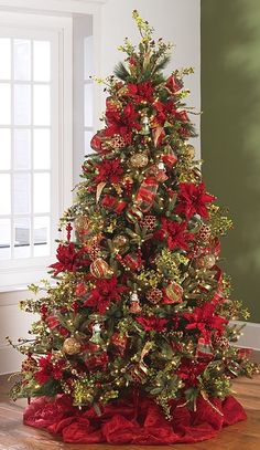 Tree with red poinsettias