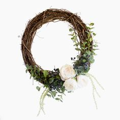 Classic peony grapevine wreath with artificial cream peony, amaranthus, dollar gum and berry branch crabapple.
