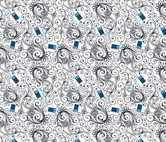 Blue Phone Boxes and Black Swirls on White - Large Swirls fabric by risarocksit on Spoonflower - custom fabric <3