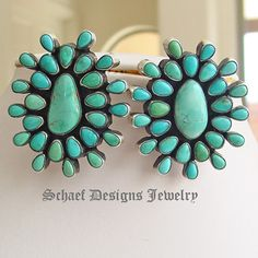 Bea Tom Large Carico Lake Turquoise artist signed cluster earrings | Native American Turquoise Jewelry | Schaef Designs artisan handcrafted Jewelry | New Mexico