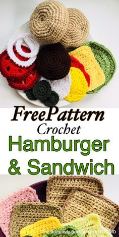 FREE PATTERN Crochet Food Crochet sandwich Crochet Hamburger Crochet Toy The Burgundy Basket crochethamburger Crochet Fruit, Crochet Food, Crochet For Kids, Crochet Geek, Crochet Crafts, Yarn Crafts, Crochet Baby, Crochet Projects, Free Crochet