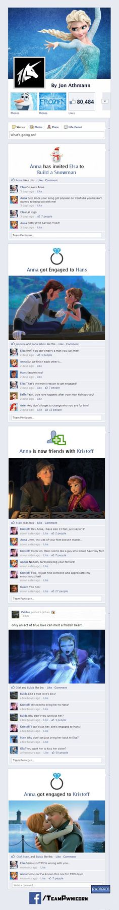 """What if the Characters from Frozen Were on Facebook? """"Come on, if known this one for TWO days!"""" XD"""