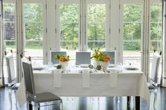 A classic damask table linen teamed with modern accents: Baressa