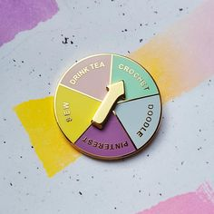 The perfect pin for all the fickle crafters (or procraftinators) amongst you!  A hard enamel (cloisonne) pin, featuring a spinning gold arrow to help you decide what to do with your day! (outlines, arrow and words in gold). Possible outcomes include sew, drink tea, doodle....  Measures 30mm x 30mm