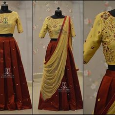 Looking for best half saree blouse designs, check out 30 cool blouse models and patterns that will make you look stunning on any half saree. Half Saree Lehenga, Lehenga Style, Sarees, Half Saree Designs, Saree Blouse Designs, Blouse Models, Kurtis, Indian Wear, Indian Outfits