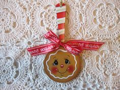 HP Christmas gingerbread spoon and peppermint  ORNAMENT hand painted collectible