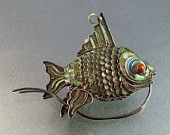 Vintage Chinese Export Enamel Silver Filigree Fish Pendant, Art Deco, Large Articulated