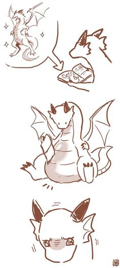 Cute Kawaii Drawings of dragons - Bing images Furry Art, Arte Furry, Fantasy Creatures, Mythical Creatures, Art Sketches, Art Drawings, Character Art, Character Design, Art Mignon