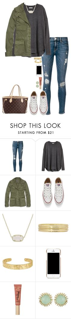 """Untitled #811"" by thatprepsterlibby ❤ liked on Polyvore featuring Frame Denim, H&M, Madewell, Converse, Kendra Scott, Louis Vuitton, Liz Claiborne, Sam Edelman, Moschino and Too Faced Cosmetics"