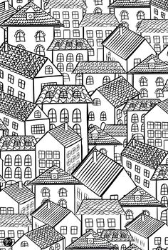 To print this free coloring page «coloring-architecture-village-roofs», click on the printer icon at the right